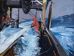 Hauling in the trawl, Bering Sea